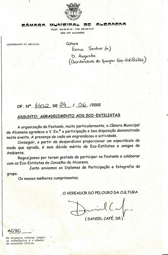 Agradecimento CM Alcanena - 24 de Junho de 2002